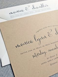 NEW Monica Calligraphy Script Recycled Kraft par CricketPrinting, $5.00