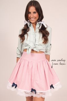 mundo-lolita-saia-xadrez-laços Idéia legal para festa junina A Line Skirts, Mini Skirts, Look 2017, G Hair, Evening Outfits, Skater Skirt, Nice Dresses, Party Dress, Glamour