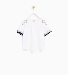 EMBROIDERED AND TASSELLED T-SHIRT-NEW IN-GIRL | 4-14 years-KIDS | ZARA United States
