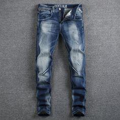>> Click to Buy << Italian Style Fashion Designer Men Jeans High Quality Elastic Slim Fit Stripe Jeans Mens Pants Blue Color White Wash Biker Jeans #Affiliate