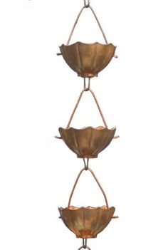 Monarchs Pure Copper Umbrella Rain Chain Extension 3 Feet Length by Monarch International. Save 40 Off!. $41.76. Chain extension measures 3 feet in length; cup measures 4-Inches in length by 4-Inches in width by 2.25-Inches in height. Includes round copper hook for easy attachment to increase length. Elegant and functional umbrella cups transport water from cup to cup. Water cascades down from each cup creating a beautiful water feature; water feature is mesmerizing. Pure copper umbrel...