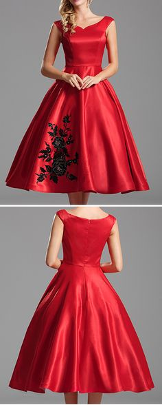 Off shoulder red party dress with floral embroidery