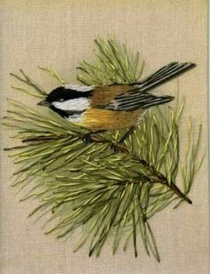 Bird embroidery. Needle painting embroidery