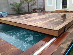 Creation of removable swimming pool cover convertible into terrace with lock. pool measured # 78 by Small Backyard Pools, Backyard Pool Designs, Small Pools, Swimming Pools Backyard, Swimming Pool Designs, Hot Tub Deck, Pergola Plans, In Ground Pools, Pool Houses