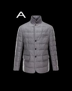 Moncler Rodin Men Quilted English Flannel Jacket Gray Outlet Online Sale
