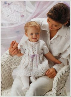 baby girls dress knitting pattern PDF baby lacy dress gilet