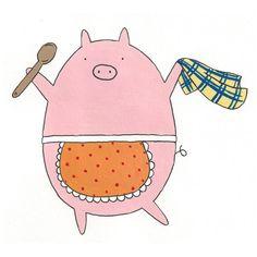 Kitchen Pig 5x5 Digital Print by Hikaru811 on Etsy, $8.00