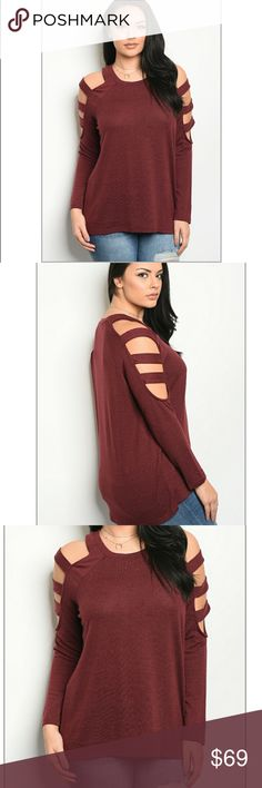 """PRE ORDER Plus Ladder sleeve sweater Ships after first of the year!  Wine color plus size lightweight thermal sweater  Fabric Content: 95% POLYESTER 5%SPANDEX Description: FL: 29"""" BL: 30"""" B: 50"""" W: 50"""" Sweaters"""