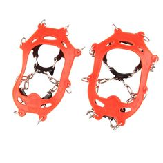 HYOUT Crampons Non-slip Shoes Cover for Outdoor Ski Ice Snow Hiking Climbing ( set of 2 ). The crampon is suitable for shoes size between 11 M US Little Kid ( 6.7 in ) and 8 Women / 6.5 Men ( 9.5 in ). With 11 high-strength manganese steel teeth, with 2.5 mm stainless steel plate, thicker and safer. Velcro strap for easy putting on and taking off, cooperate with all kinds of sports shoes, hiking shoes, and mountain boots, etc. Carry bag included for storing your crampons, welded flex…