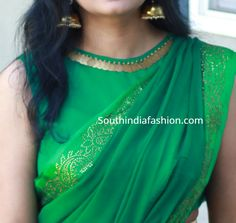 South India Fashion ~ Latest Blouse Designs 2020 - Page 15 Best Blouse Designs, Simple Blouse Designs, Stylish Blouse Design, Sari Blouse Designs, Designer Blouse Patterns, Design Of Blouse, Blouse Designs Wedding, Simple Blouse Pattern, Traditional Blouse Designs