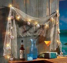 Fish Net Sea Shells Light Strand Outdoor Decor Indoor Nautical Seaside Wall Art