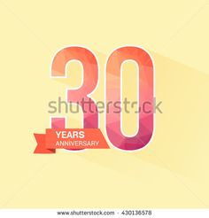 30 Years Anniversary with Low Poly Design - stock vector