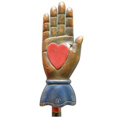"""""""Heart In Hand"""" is a traditional folk art motif, associated with the Shakers, the Amish, the Pennsylania Dutch and the Masonic IOOF (International Order of Odd Fellows). It was widely considered to symbolize charity, """"from the heart"""". The IOOF considered it to represent friendship, love and truth."""