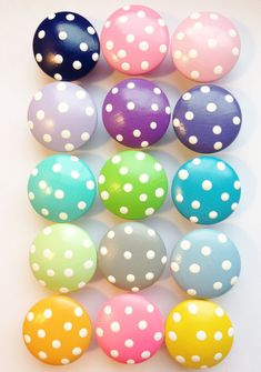 Handpainted Drawer Knobs with White Polka Dots. Use on your dresser drawers, closet doors or as decorative nail covers. The price is per knob,