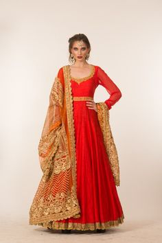 Indian Wedding Suits - Anarkali   Bright Red Anarkali with gold gota border around the neck and the suit flares. A gold jaali dupatta is matched with the anarkali gota work all over! #wedmegood #anarkali #red