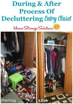 Here is how to declutter your coat closet, or entry closet, so that it can perform its intended function of holding coats and other items for family members and guests. Retro Furniture, Cheap Furniture, Discount Furniture, Furniture Outlet, Entry Closet, Home Storage Solutions, Home Management, Declutter Your Home, Furniture Removal