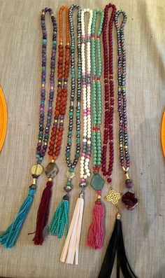 Fresh water pearls, quartzites,Czech fire polished beads tassel necklaces