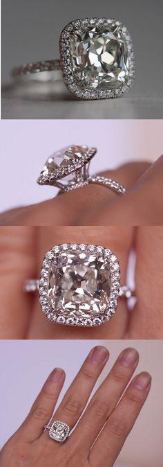 5.01 carat antique style cushion cut diamond. HOLY MOLY!