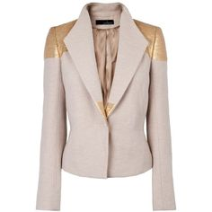 Amanda Wakeley Arusi Jacket featuring polyvore, fashion, clothing, outerwear, jackets, blazers, gold, high collar jacket, tailored jacket, pink jacket, amanda wakeley and long sleeve jacket