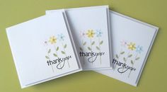 sweet handmade thank-you notecards ... like the overstamping of the sentiment of the flower stems ...