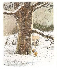 Pooh comes to visit Piglet at his home 'Trespassers Will' in the big old tree.