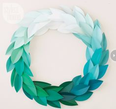 DIY Projects Made With Paint Chips - Paint Chip Wreath - Best Creative Crafts, Easy DYI Projects You Can Make With Paint Chips - Cool Paint Chip Crafts and Project Tutorials - Crafty DIY Home Decor Ideas That Make Awesome DIY Gifts and Christmas Presents for Friends and Family http://diyjoy.com/diy-projects-paint-chips