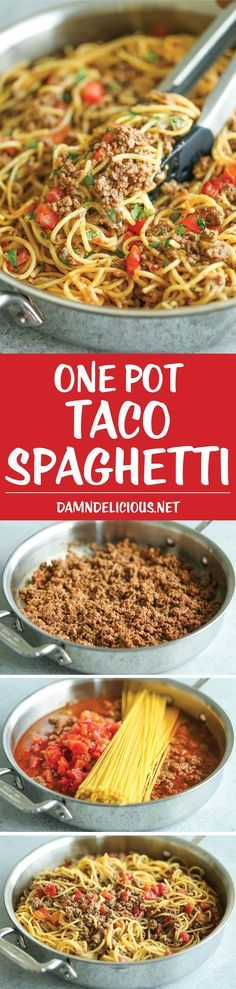 One Pot Taco Spaghetti - All your favorite flavors of tacos in spaghetti form - made in ONE PAN! So cheesy, comforting and stinking easy with no clean-up! (clean eating meals no meat) Meat Recipes, Mexican Food Recipes, Dinner Recipes, Cooking Recipes, Healthy Recipes, Cake Recipes, Vegetarian Mexican, Cooking Gadgets, Tortilla Wraps