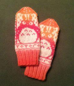 Mittens Pattern, Knit Mittens, Knitted Gloves, Knitting Socks, Fair Isle Knitting Patterns, Knitting Designs, Crochet Patterns, Totoro, Crochet Chain Stitch