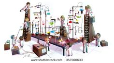 Cartoon children scientists studying chemistry, working and experimenting in massive chemical tower refinery laboratory with complicate test tube beaker and science tool in isolated background