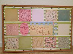fall bulletin board using wrapping paper and scrap booking supplies break room bulletin board