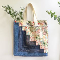 """Fusing our Denim with Pat Bravo's staple print in """"Meadow Vivid"""" and some hand-stitching details, to create this boho-chic bag that you'll want to accessorize with everytime you go out! Fall Patterns, Sewing Patterns, Fall Sewing, Applique Pillows, Art Gallery Fabrics, Fabric Crafts, Quilting Ideas, Hand Stitching, Boho Chic"""