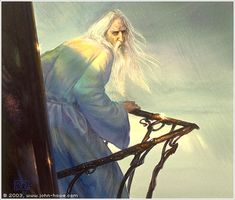 Saruman by John Howe - great work on his robe of many colours! This is pretty much how I imagined it.