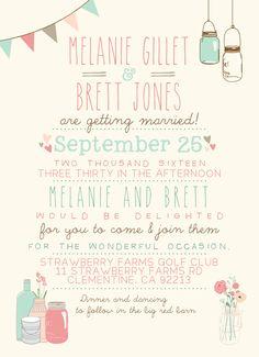 Rustic Wedding Invitation // Shabby Chic Invite // Blush, Teal, Pink 2015