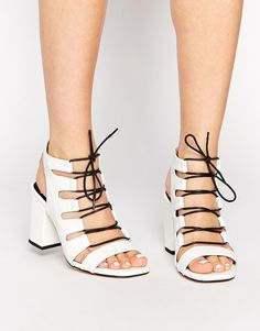 Pin for Later: Zara Is Stocked With the New Lace-Ups Every Blogger Is Wearing  Senso Rhiannon White Leather Croc Heeled Sandals ($290)