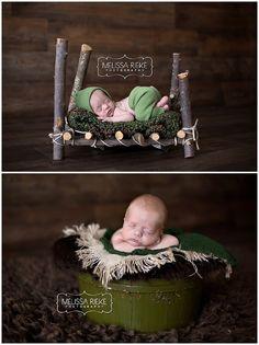 Newborn Baby Boy Photos | Baby Boy Pictures | Wooden Stick Bed | Green Vintage Bowl | Newborn Props Melissa Rieke Photography | Kansas City