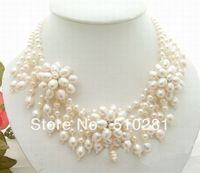Free ship !!! natural freshwater pearl flower double chain clasp necklace