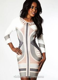 sexy Long sleeve herve leger bandage dress white celebrity dresses online. Best for evening party dresses,cocktail dresses. herve leger wholesale from China for cheap. fast shipping worldwide.