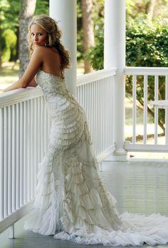 Tiered wedding gown