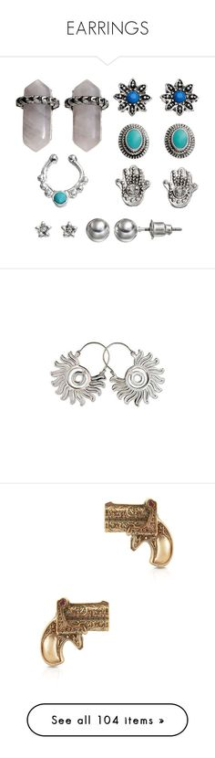 """EARRINGS"" by teenage-girl-documentary on Polyvore featuring jewelry, earrings, silver ear cuff, earring ear cuff, blue earrings, silver earrings, ear cuff earrings, clothing & accessories, hoop and sterling silver"