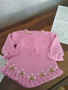 Pin by Priya Bagga on Baby sweaters Baby Sweaters, Girls Sweaters, Knitting For Kids, Baby Knitting, Crochet Baby Blanket Free Pattern, Knit Baby Dress, Baby Frocks Designs, Lace Knitting Patterns, Baby Girl Dresses
