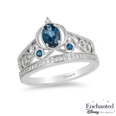 Enchanted Disney Cinderella Oval London Blue Topaz and 1/10 CT. T.W. Diamond Carriage Ring in Sterling Silver - Size 7 - View All Rings - Zales