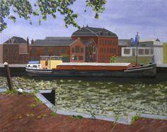 Rijnaak 40x50 cm acrylic canvas Anthony van Gelder Pittore
