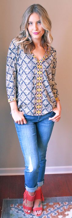 The Morocco Diamond Print Blouse is full of energy and life -  shopamavo.com