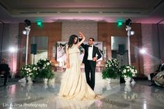 Indian couple having their first dance at wedding reception http://www.maharaniweddings.com/gallery/photo/99721