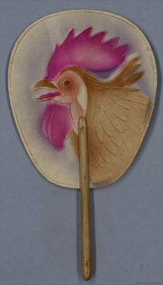 Rooster Spanish hand fan, 1920-40