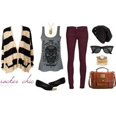 Rocker chic outfit with a skull tank top as a feature piece. Easy day to evening transition.