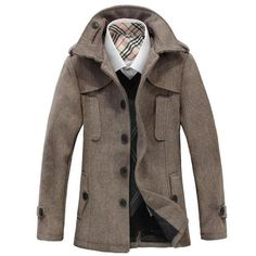 Men casual trench solid medium winter coat single-breasted wool turn down collar