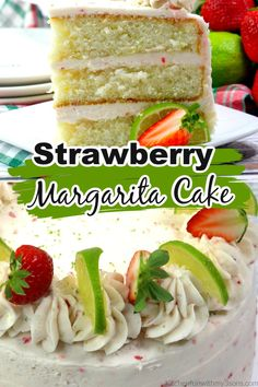 This Strawberry Margarita Cake is absolutely amazing, tasting like a sweet combination of strawberries and lime, with a burst of tequila. Tequila Cake, Margarita Cake, Strawberry Margarita Cupcakes, Just Desserts, Delicious Desserts, Cake Recipes, Dessert Recipes, Fun Recipes, Summer Recipes