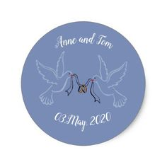 Doves Golden Rings Wedding  Round Sticker Glossy Classic Round Sticker - golden gifts gold unique style cyo