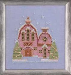 Little Snowy Pink Cottage - Cross Stitch Pattern by Mirabilia using Kreinik